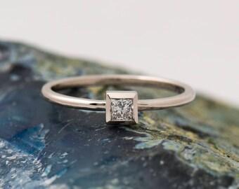 Square Diamond ring, 14K / 18K White Gold, Dainty Engagement Ring, Thin Solitaire Ring, Princess Diamond Ring, Bezel Setting Diamond Ring