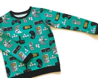 Kids Gamer T shirt, 4 to 5 years, Ready to ship, Organic childrens clothes, Boys tops, Girls T shirt, Retro Gamer clothing, Video games