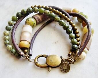 Earthy Bracelet, Sea Urchin Bracelet, 5 strand bracelet, Leather, Rustic, Green, Brown, Brass,B577