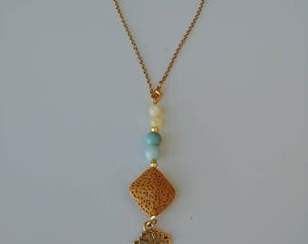 TBU Mini rear view mirror car diffuser with feature stones amazonite and yellow jade, lotus charm