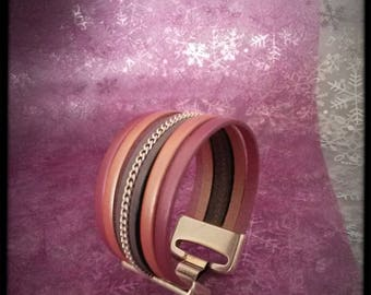 pretty pink and grey Cuff Bracelet