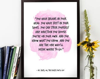 Dr Seus, Dr Seuss quote, Dr Seuss Art , Dr Seuss Watercolor Quote Poster, Motivational quote, Inspirational quote, Dr Seuss Watercolor art.