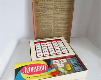 Vintage Jeopardy Game Fourth Edition Complete by Milton Bradley 1964 Game Show Game