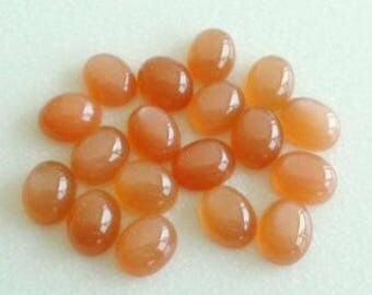 10 Pcs. lot 100% Natural Peach Moonstone oval shape cabochon for jewelry