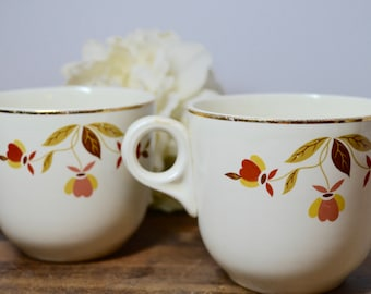 Hall Jewel Tea Autumn Leaf Coffee Cups with Gold Inlay, Jewel Tea, Hall Jewel Tea, Hall Autumn Leaf, Hall China, Hall Pottery, Coffee Cup