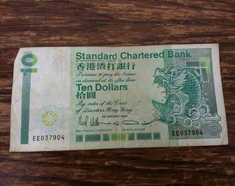 Bank note standard charted bank ten dollars