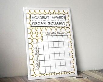 2018 Oscar Party Game Squares / Academy Awards Party Game / Printable / 2018 Academy Awards Pool / Oscars