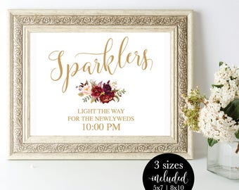 Printable Wedding Sparkler Sign Editable, Reception Let Love Sparkle Signage, Send Off Light The Way Sign, DIY Instant Download Template
