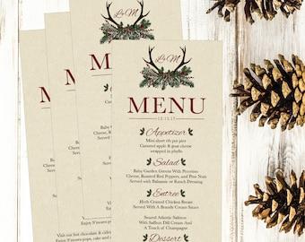 Rustic Winter Pine Printable Wedding Menu Template, Christmas Deer Rehearsal Dinner Menu Card,  Editable DIY Instant Download PDF 4x8