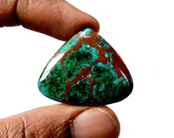Chrysocolla 31 Cts AAA Quality Natural Gemstone Attractive Designer Triangle Shape Cabochon 25x30x5 MM R14136