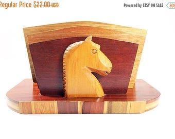 ON SALE Vintage Wood Letter Mail Holder Desk Organizer with Horse Head Accent, Mid Century Wood Letter Holder, Horse Office Decor, Desk Orga
