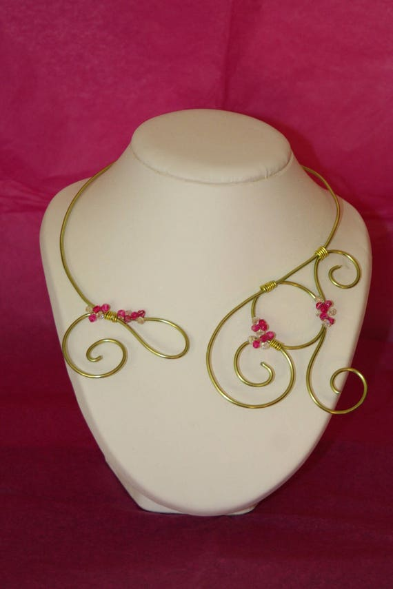 Necklace wire aluminum lime and fuchsia Crystal and Crystal