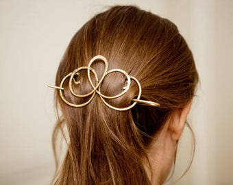 Forged Brass Hair slide Barrette for Hair, Metal Ponytail holder, Hammered Slider Barrette, Metal Hair slide, Hair accessories for long hair