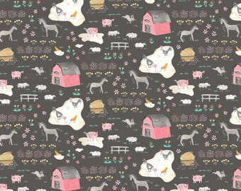 Blend Hill And Dale Tiny Farm Fabric - Gray (Priced by the half yard and cut continuously)