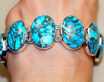 Classy Blue Mohave Turquoise set in Solid 925 Sterling Silver Bracelet by Silver Trend