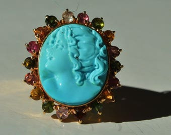Stunning Vintage 14kt YG Persian Turquoise Cameo and Multi-Color Tourmaline Ring