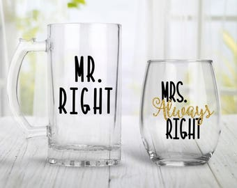 Mr Right & Mrs Always Right Stemless Wine And Mug - Mr and Mrs - Engagement Gift - Groom and Bride Gifts - Wedding Gifts - Glitter