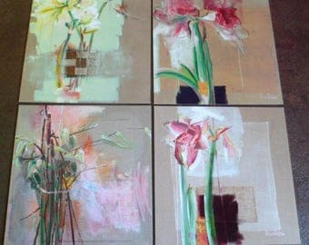 Set of 4 postcards at scrapper Amaryllis.Carte paper Polish. 14 X 14 Cm