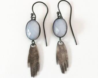 Silver earrings. Mano Blue Chalcedony earrings.