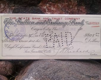 Carson City Nevada, Bullion and Exchange Bank, Anglo Californian Bank, San Francisco CA, canceled check, 1903