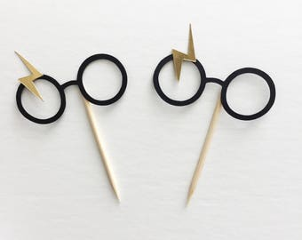 12pc Harry Potter cupcake toppers, Harry Potter party decor, Harry Potter food picks, Harry Potter glasses decor, HP party decor