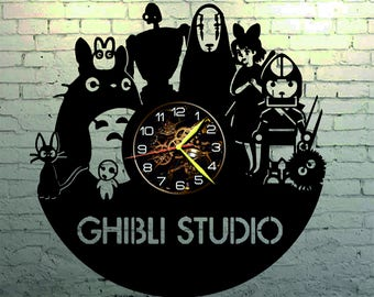 VINYL WALL CLOCK Ghibly Studio, best gift, original gift