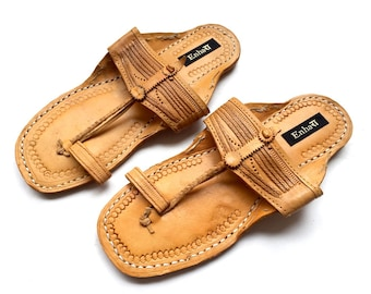 Men Sandals - Natural Brown Art Leather Kolhapuri Chappals/Shoes for Men/Men Flats/Ethnic Indian Slip Ons