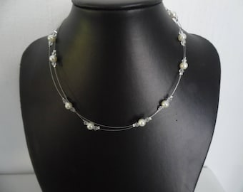 Necklace ivory pearls and transparent Tops 2 row wedding, party, Bridal