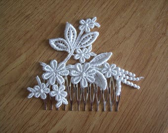 hair comb bridal hair accessory light ivory lace wedding ceremony evening parties
