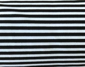 FABRIC - Nylon Spandex Black & White Stripe