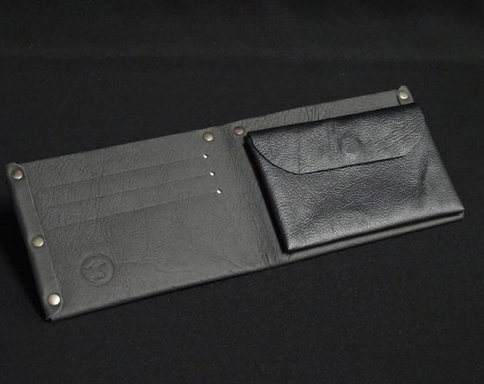 6Pocket Wallet with Coin Pocket - Black - Kangaroo leather with RFID credit card blocking - Handmade - Mens/Womens - James Watson