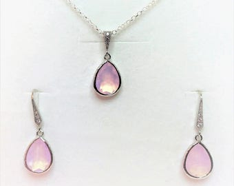 Violet Opal Bridesmaid Jewellery Set Opal Crystal Jewelry Set Violet Wedding Party Gift Purple Crystal Earrings Opal Crystal Drop Pendant