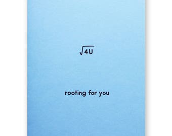 Rooting For You Math Square Root Card - Nerd Geek Mathematics Numbers - Encouragement Graduation Good Luck School