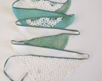 Handmade doily bunting, sage green and white, mantle or room decoration, garland, eco friendly