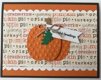 "Handmade ""Thanksgiving"" Card, Harvest, Pumpkin, Thanksgiving, Thankful, Grateful Blessings"