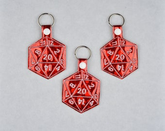 D20 3ITH snap tab key fob machine embroidery design 5x7