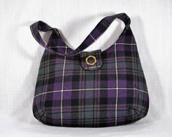 Purple Tartan Shoulder Bag/ Upcycled Plaid Purse/ Repurposed Kilt Bag