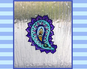 Paisley design window cling, hand painted for glass & window areas, reusable faux stained glass effect decal, static cling suncatcher decals