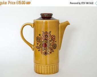 SALE Retro Palissy Coffee Pot - Mustard Floral Design