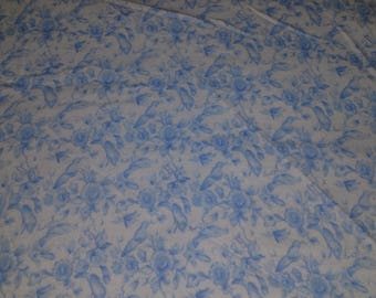 Vintage Blue Flowers on White Flannel Fabric by the yard