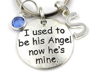 I Used To Be His Angel Now He's Mine Key Ring, Personalized Memorial Keychain With Birthstone Or Pearl,Dad Remembrance Keyring,Sympathy Gift