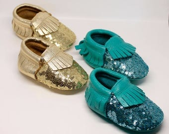 FREE SHIPPING! Sequin Baby Moccasins // Gold Sequin Moccasins // Mermaid Party // Toddler Moccasins // Baby Girl Shoes // Baby Mocassin