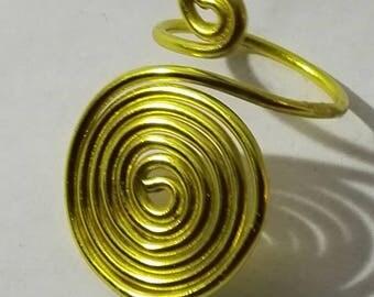 Yellow aluminum spiral ring