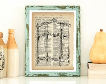 Dictionary Art Print, Antique Dressing Screen, Country Home Decor, Vintage Style Art, Retro Style Art, Instant Download, Antique Style Art