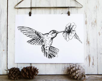 Hummingbird Poster, Woodland Animals, Bird Print, Black And White Sketch, Hummingbird wall hanging, Nature Print, Original art, Pen And Ink