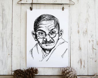 Gandhi tribute, Printable Art, Spiritual Art, Gandhi poster, Printable Wall Art, Eco Friendly, Black and White Prints