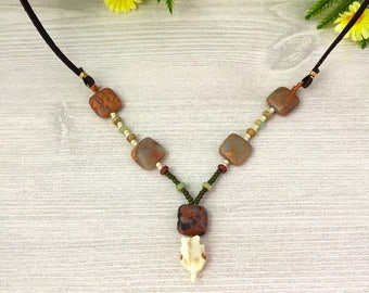 Bone Leather Necklace >> Mammal Vertebrae Natural Jasper Stone Jewelry >> Nevada Nature Gift >> Long Bohemian Brown Necklace >> Gift For Her