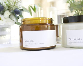 Candle soy wax and fragrance mimosa