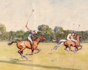 1950 horse polo print by lionel edwards