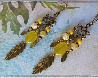 "Pierced ear ethnic ""Sunshine"" bronze metal, gemstones, agate, bronze leaf, Czech glass"